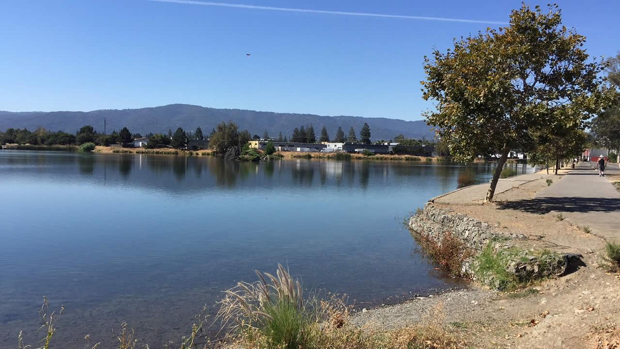 A Los Gatos Creek Park percolation pond is seen in Campbell, Calif. on Thursday, Sept. 28, 2017.