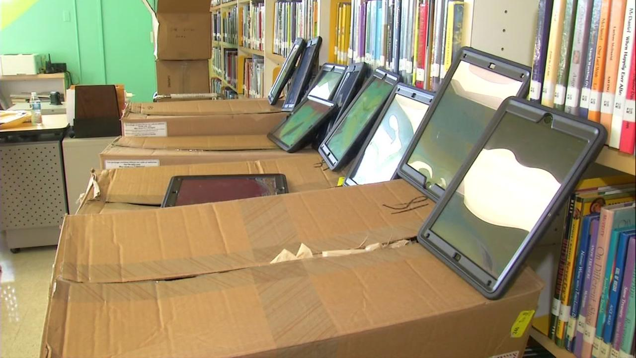 Donated iPads from Verizon appear at an East San Jose school on Friday, Sept. 29, 2017.