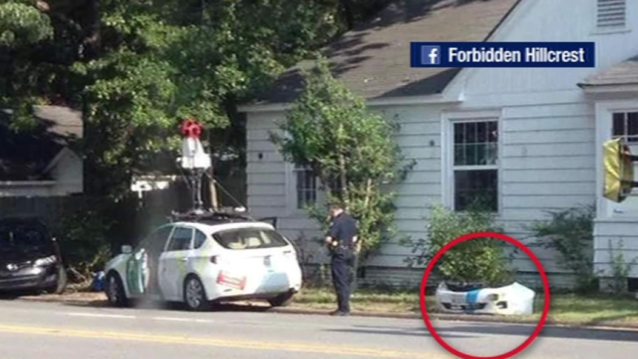 A Google Street View driver crashed into a car in Little Rock, Arkansas.