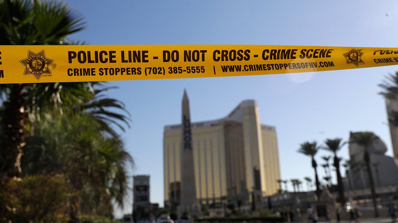 Crime scene tape scene in Las Vegas, Nevada on Wednesday, October 4, 2017.