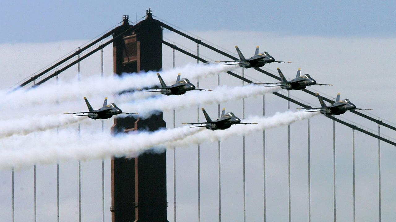 Blue Angels jets fly in front of the Golden Gate Bridge during practice in San Francisco, in this Oct. 4, 2007 file photo.