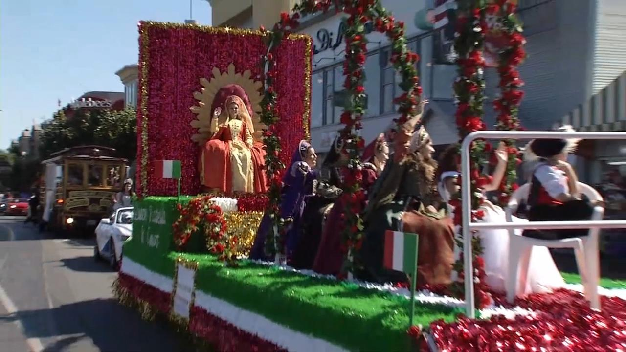 An Italian Heritage Day Parade float rolls by in San Francisco in this photo from the 2016 event.