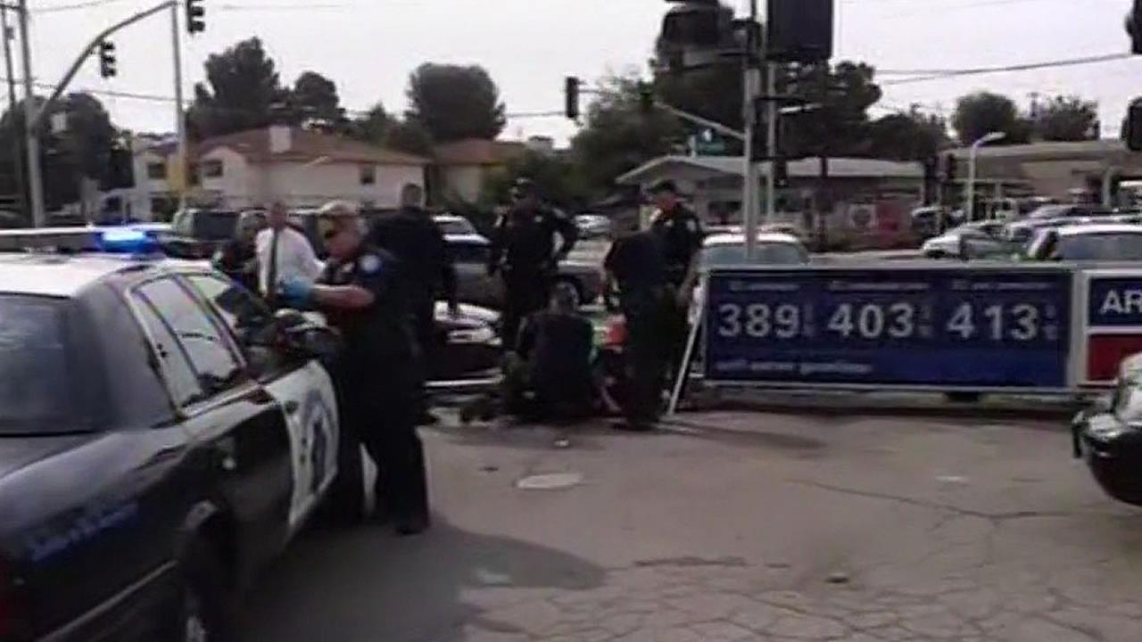 Cellphone video of a man getting arrested and Antioch police surrounding the suspect
