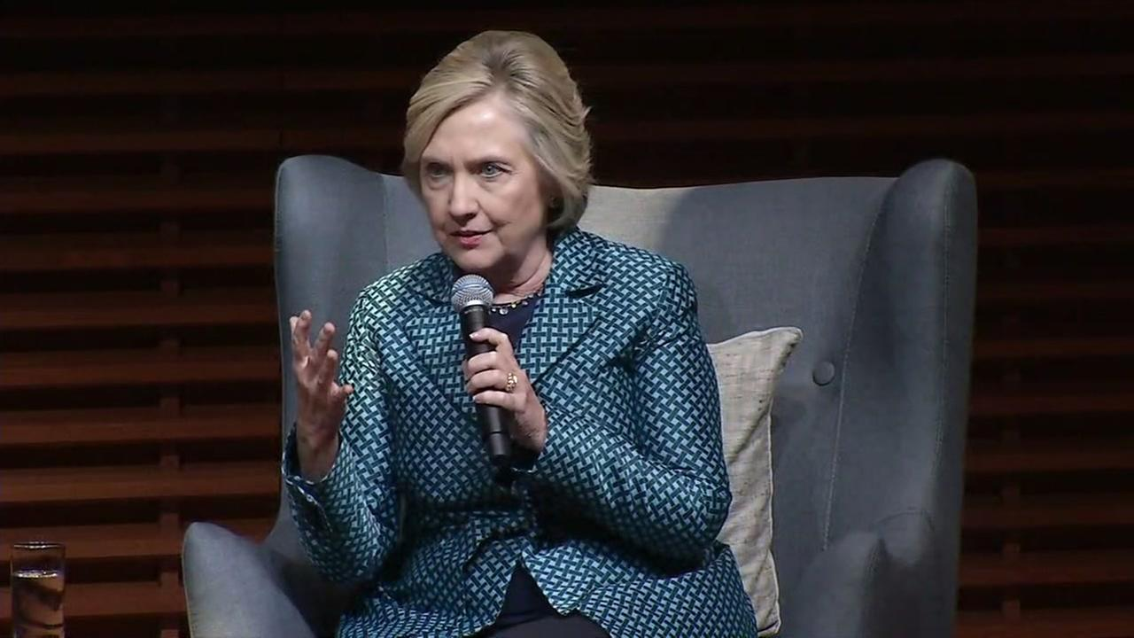 Hillary Clinton speaks at Stanford University on Friday, Oct. 6, 2017.