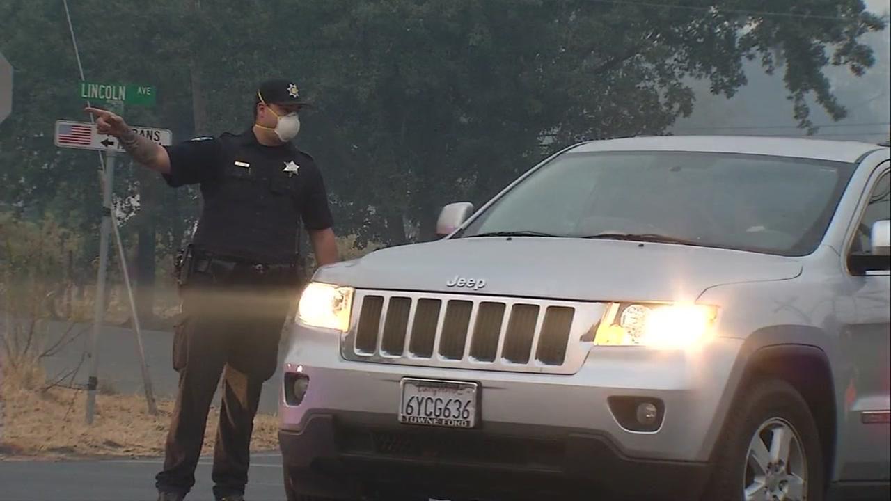 Evacuation in Calistoga, California, Wednesday, October 11, 2017.
