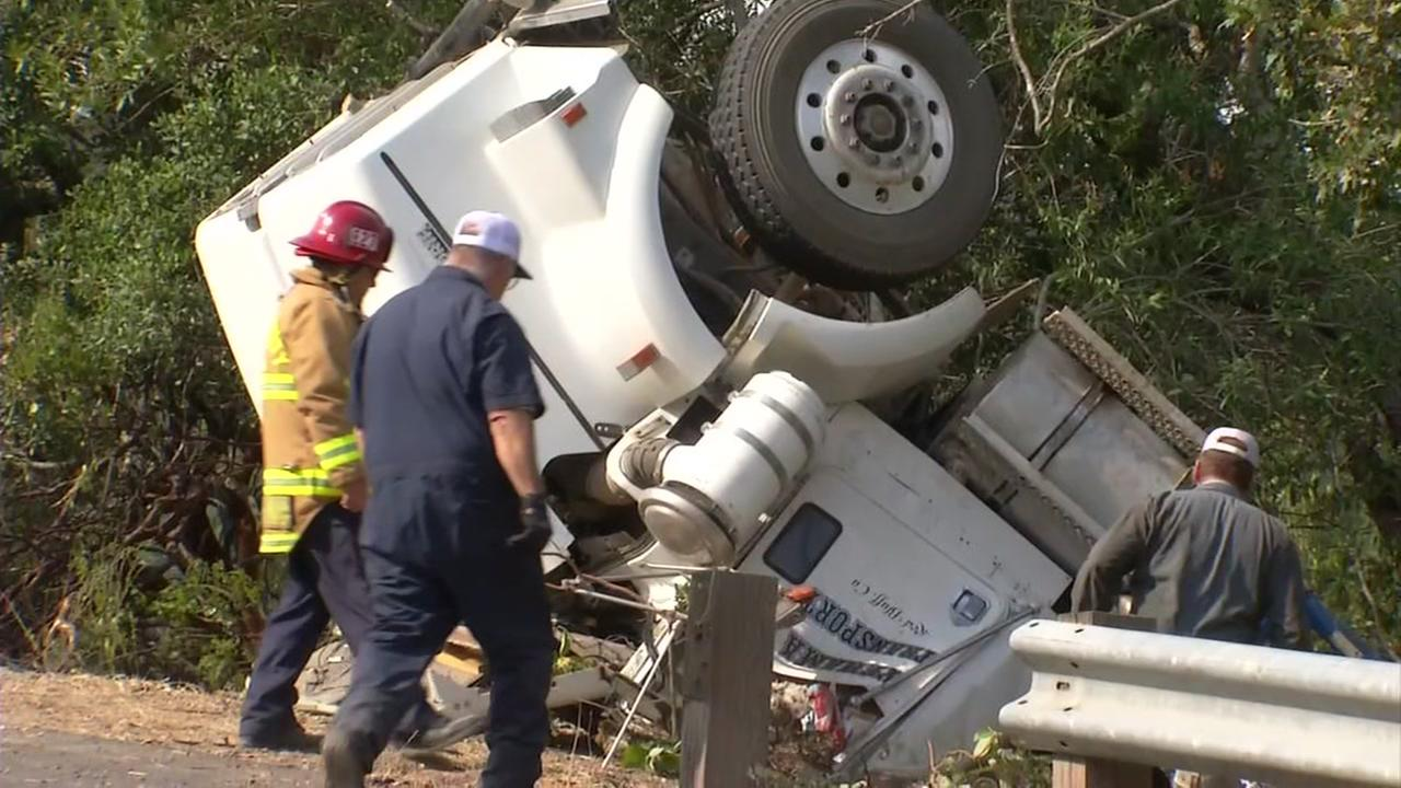 A water tender drivers truck appears overturned on Monday, Oct. 16, 2017.