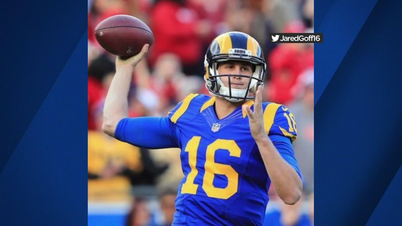 This is an undated image of Los Angeles Rams quarterback Jared Goff.