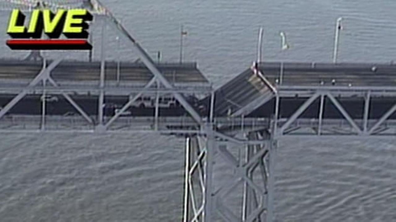 This archived KGO-TV aerial footage shows the Bay Bridge after the Loma Prieta Earthquake on October 17, 1989.
