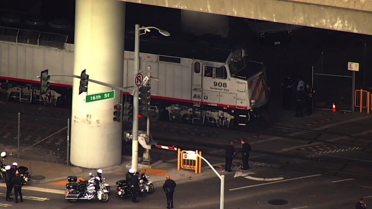 Police investigated after a pedestrian was hit by Caltrain in San Francisco on Thursday, Oct. 19, 2017.