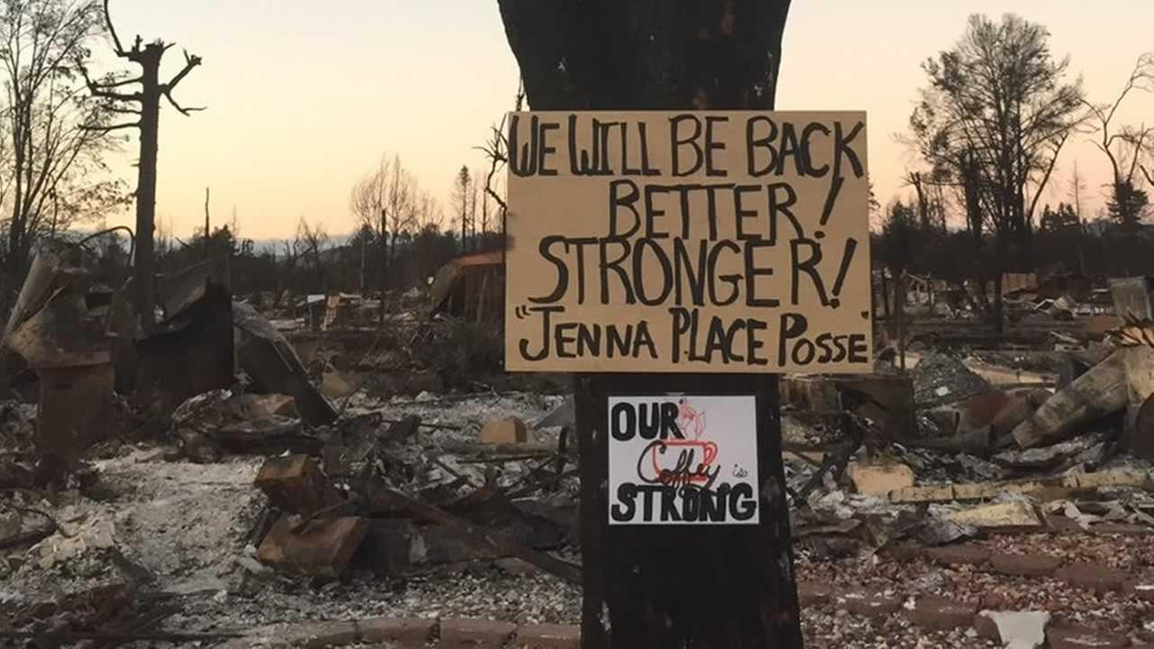 A sign of hope is seen in the Coffey Park neighborhood in Santa Rosa, Calif. on Saturday, Oct. 21, 2017.