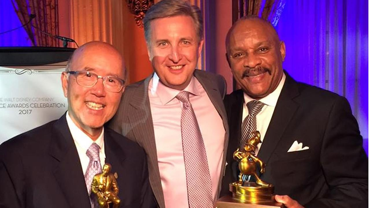 From left to right: David Louie, Bill Burton, and Joey Smith are seen at the Disney service award celebration in Los Angeles on Tuesday, Oct. 25, 2017.
