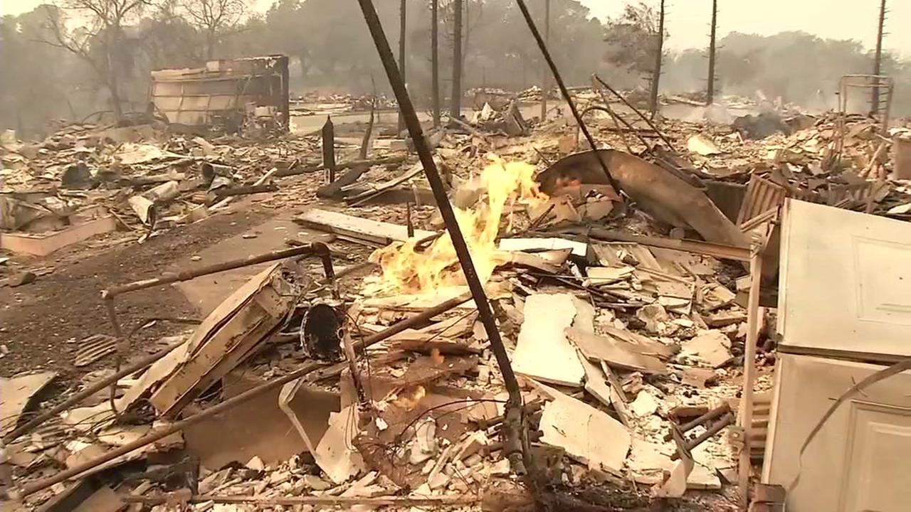 Fire burns in the Coffey Park neighborhood of Santa Rosa, Calif. during the October wildfires.