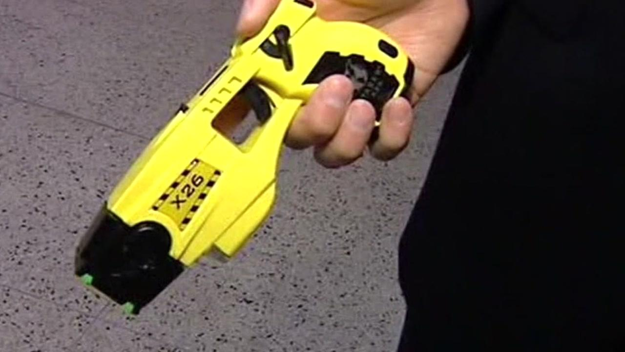 A taser appears in San Francisco ahead of a vote to allow SFPD officers to use them on Wednesday, Nov. 1, 2017.
