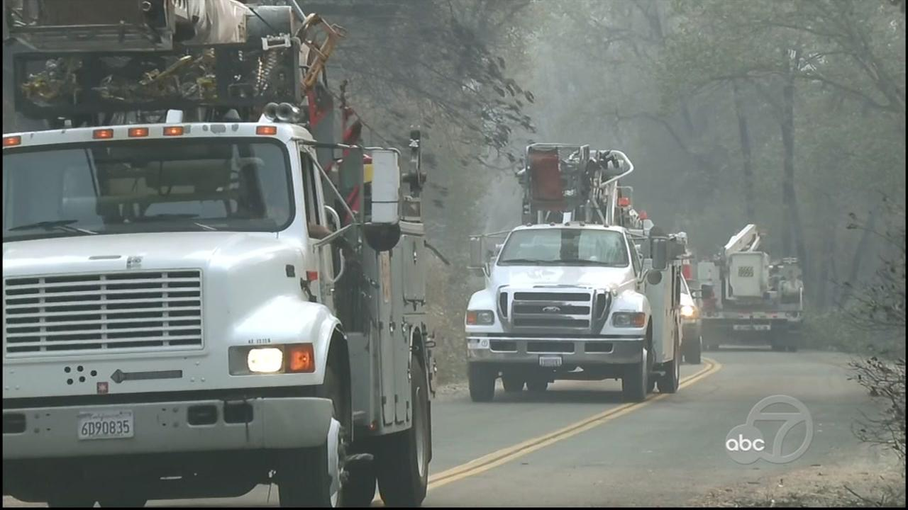 This is an undated image of PG&E crews responding to the fires in the North Bay Area.