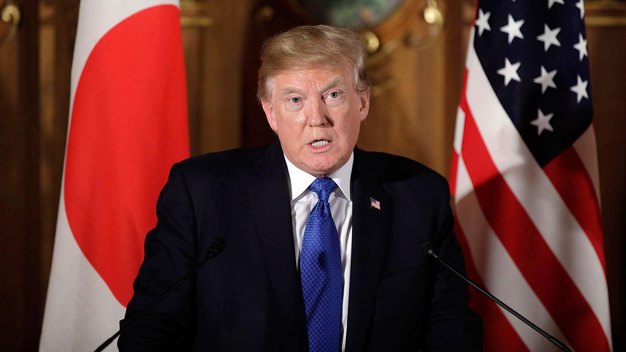 President Donald Trump speaks during a joint news conference with Japanese Prime Minister Shinzo Abe at the Akasaka Palace, Monday, Nov. 6, 2017, in Tokyo.