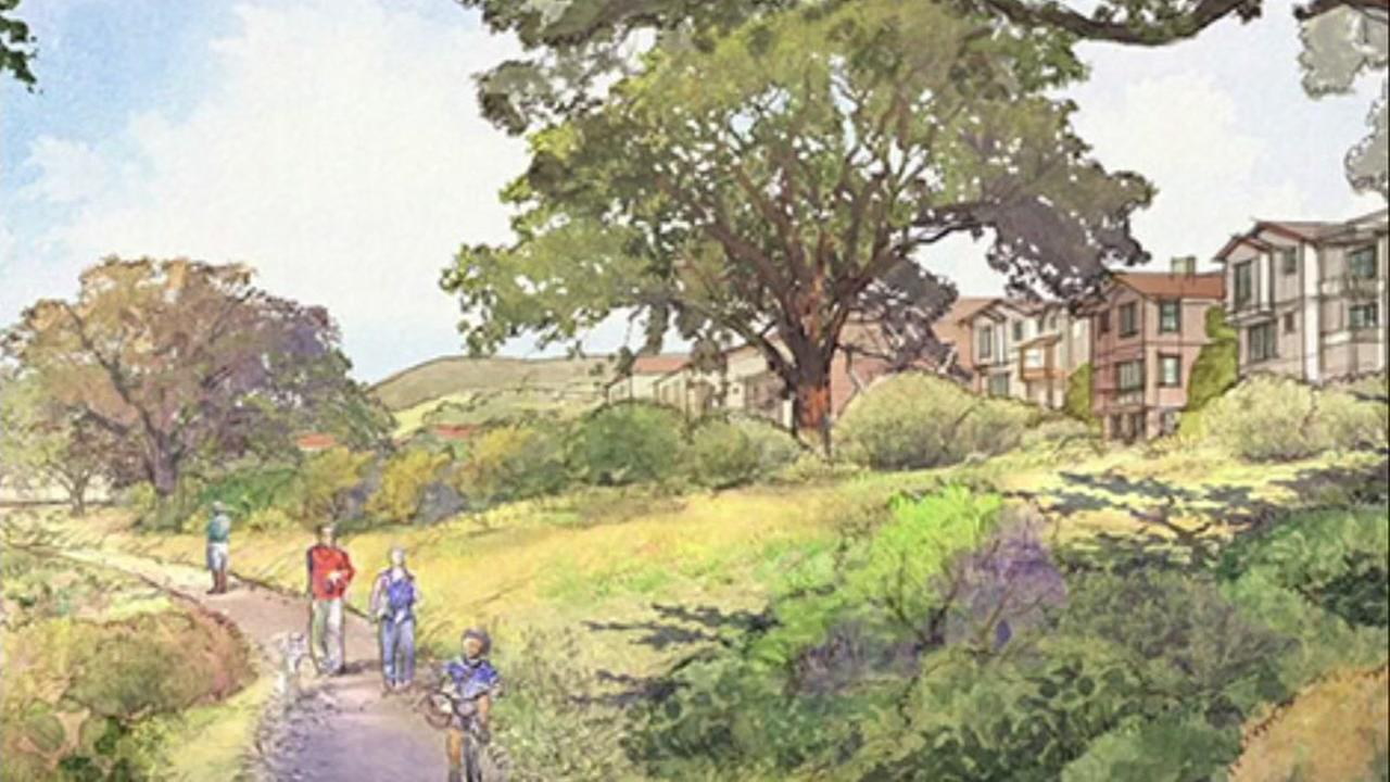 This is an undated sketch of the proposed Oak Knoll Project being opposed by labor unions in Oakland, Calif.