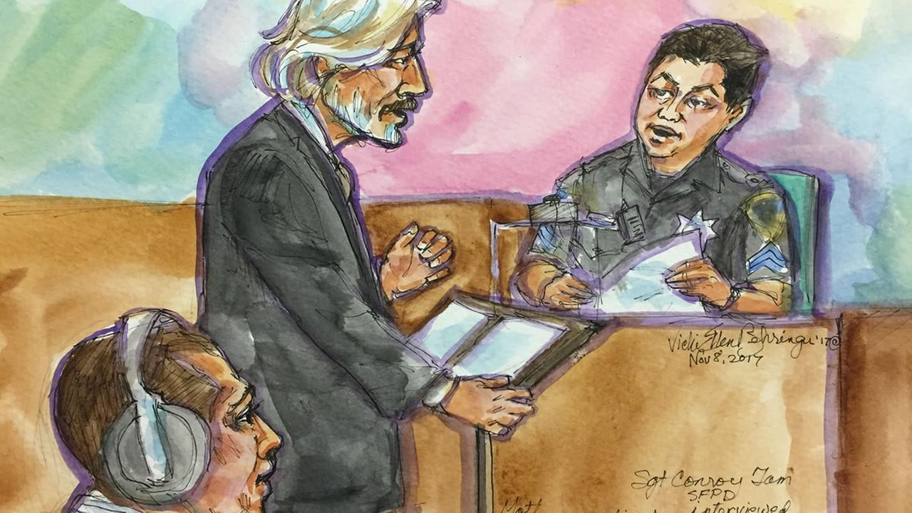 This courtroom sketch was created during the Kate Steinle murder trial in San Francisco on Wednesday, Nov. 8, 2017.
