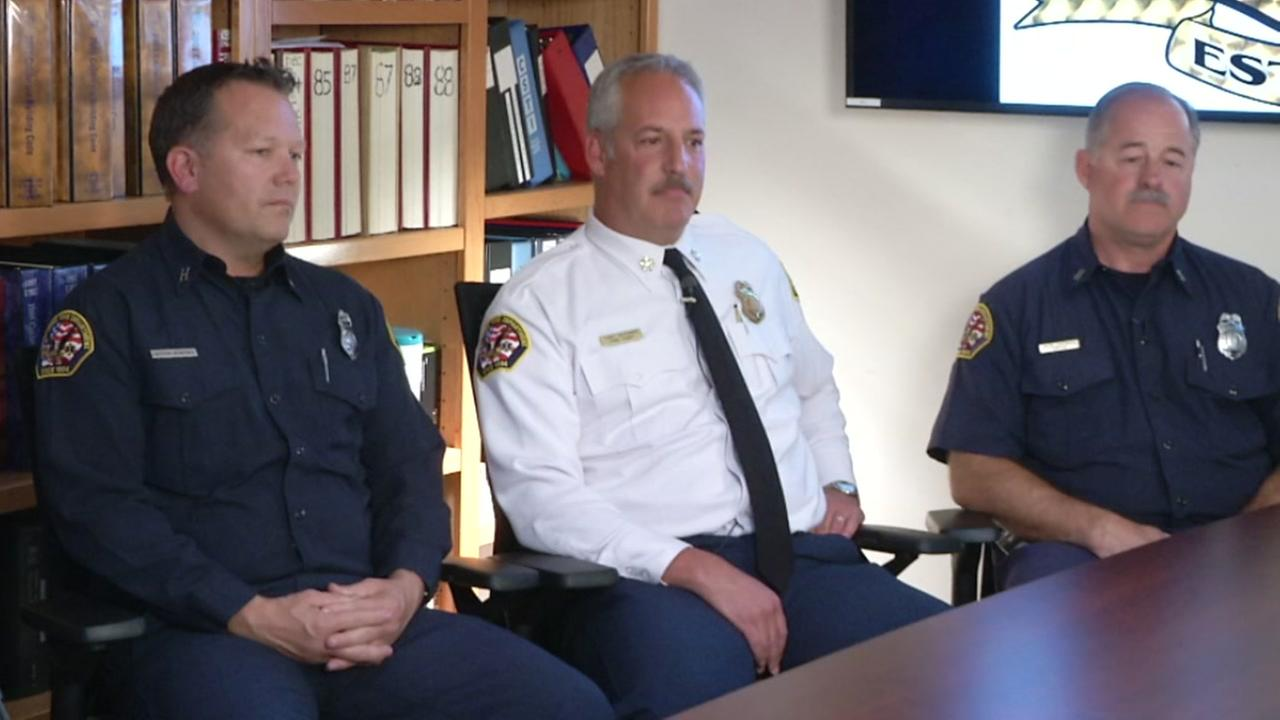 Santa Rosas fire chief and two captains are seen in this undated image.