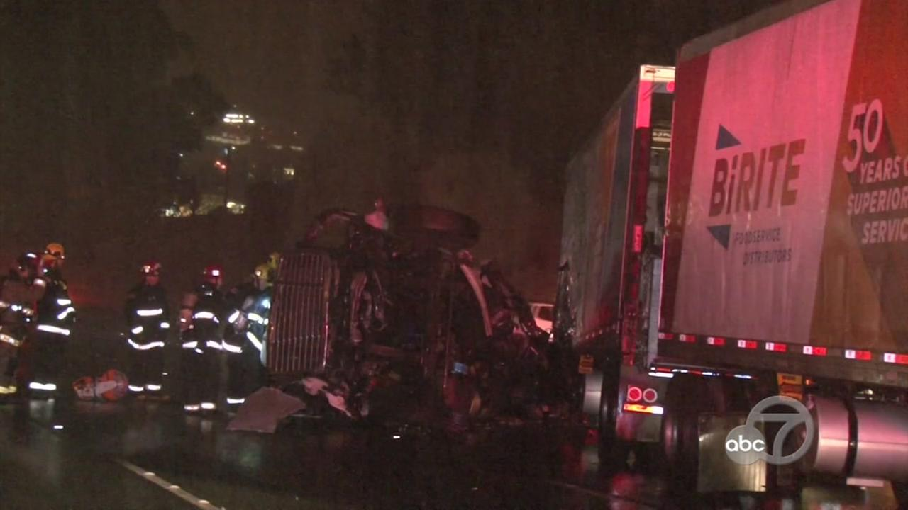 Big rig accident in San Rafael, California, Thursday, November 9, 2017.