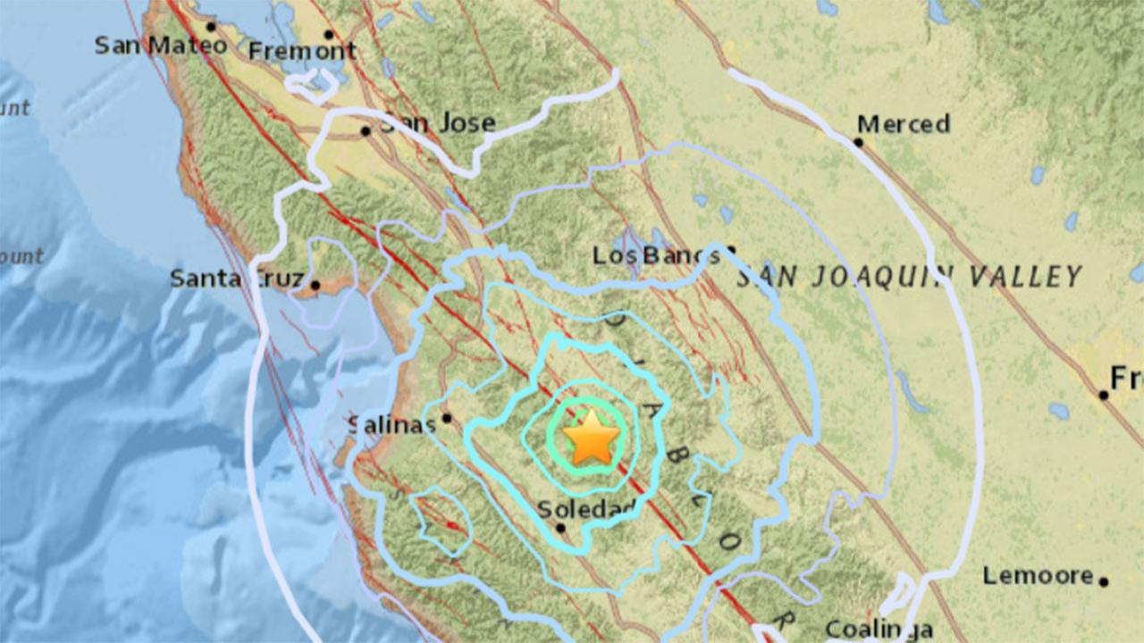 Map of earthquake that struck 6.9 miles SSE of Paicines, California, Monday, November 13, 2017.
