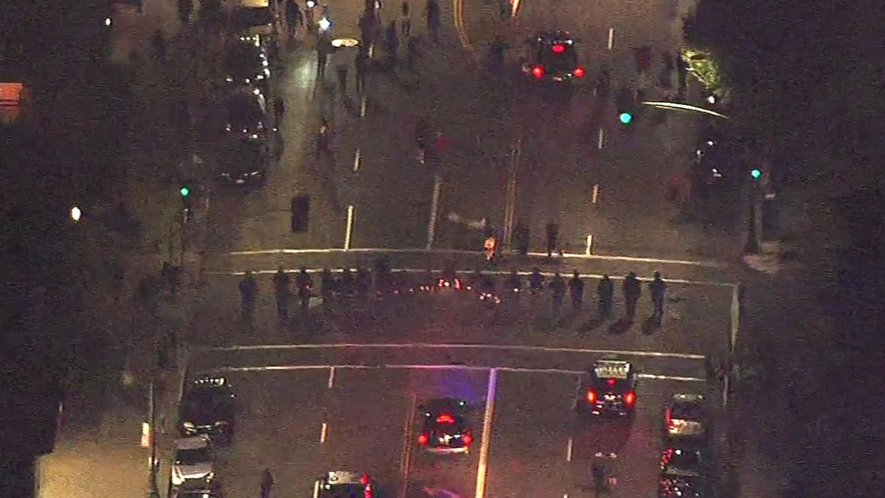 Police follow group of protesters in Oakland