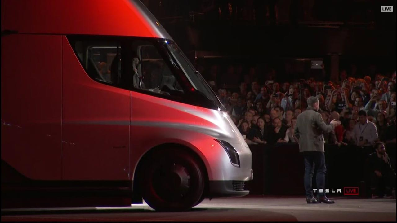 Elon Musk stands in front of the newly-unveiled Tesla truck in Los Angeles on Thursday, Nov. 16, 2017.