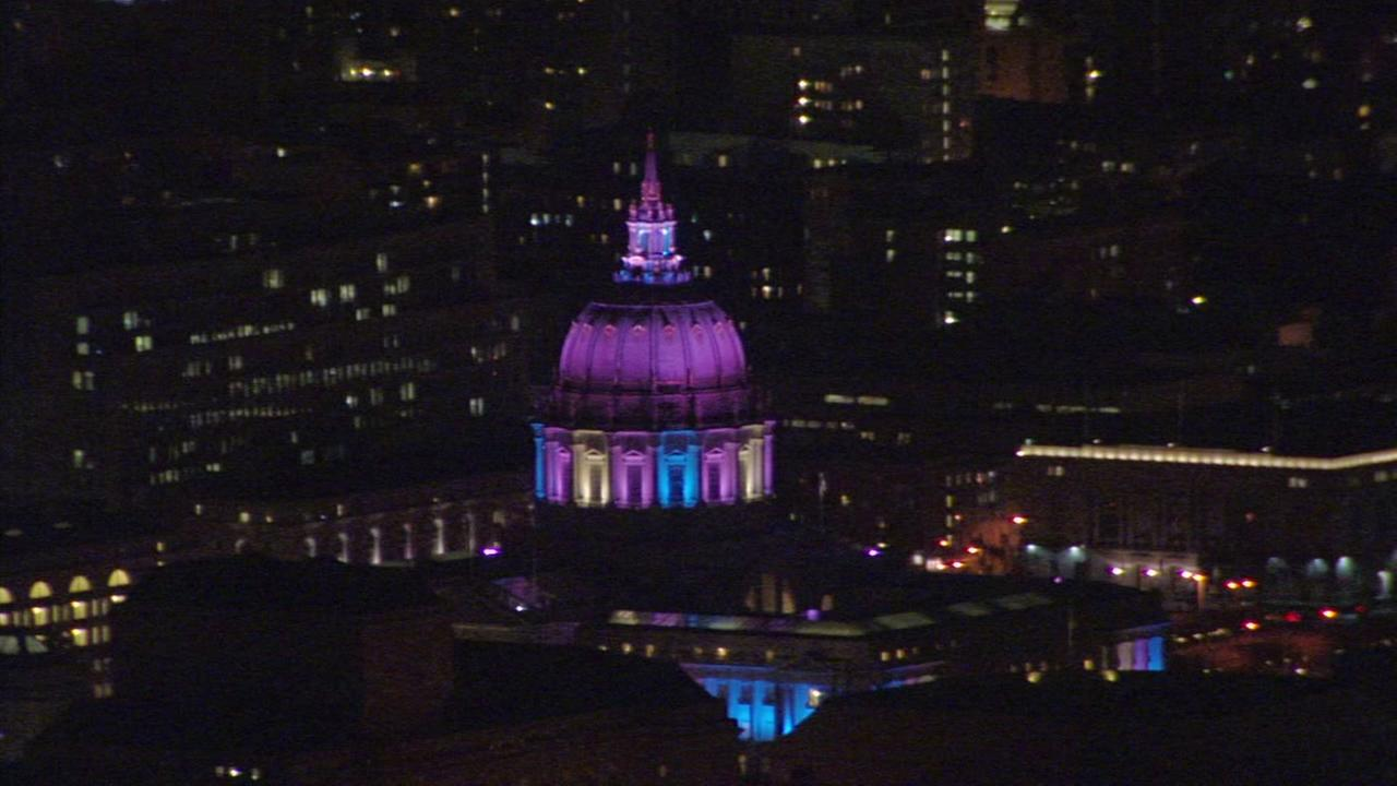 San Francisco City Hall lights up to honor Transgender Remembrance Day on Monday, Nov. 20, 2017.