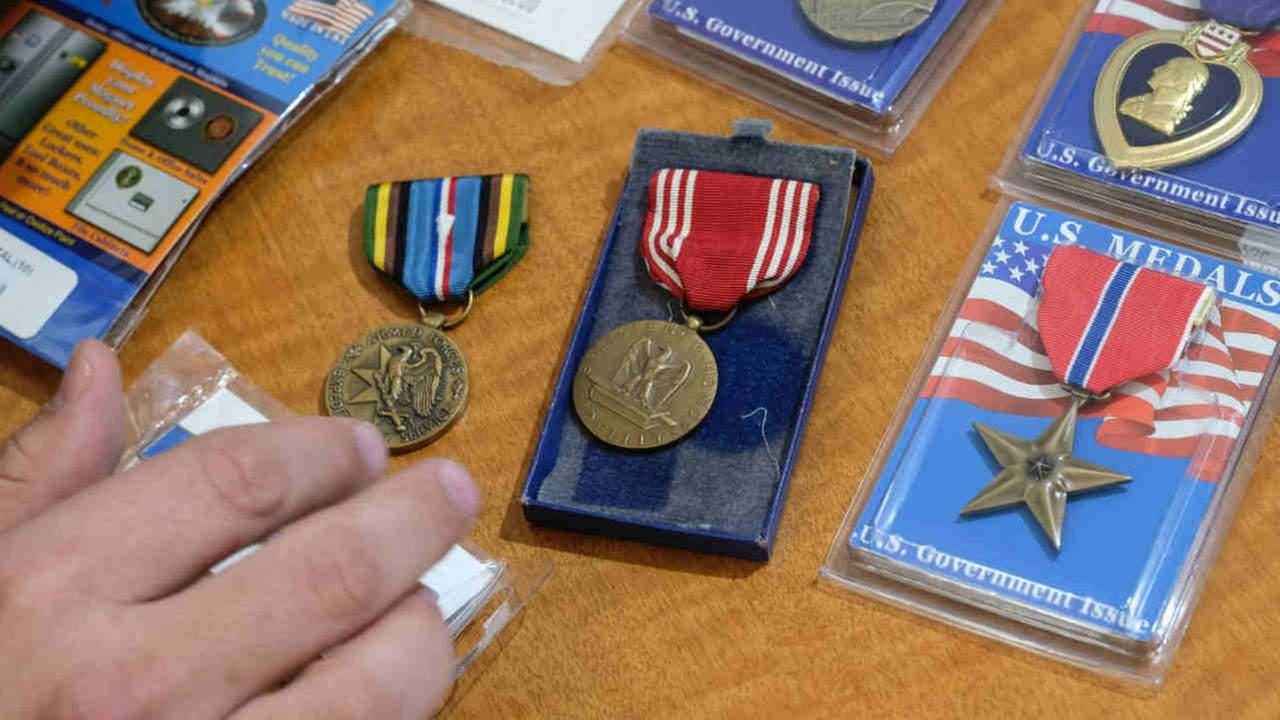 War medals are seen in this undated image.