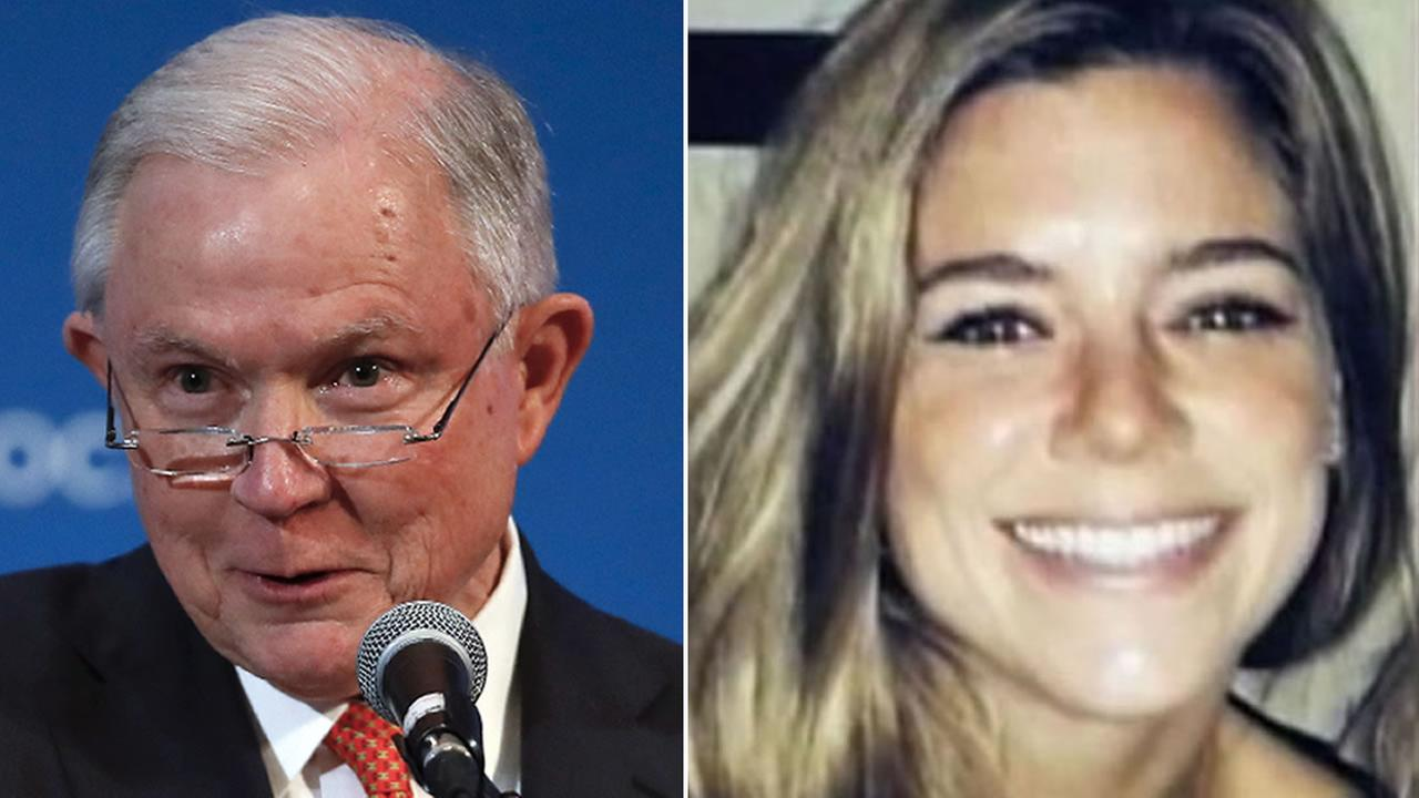 Attorney General Jeff Sessions is pictured (left) next to Kate Steinle (right), who was shot and killed on San Franciscos Pier 14 in 2015.