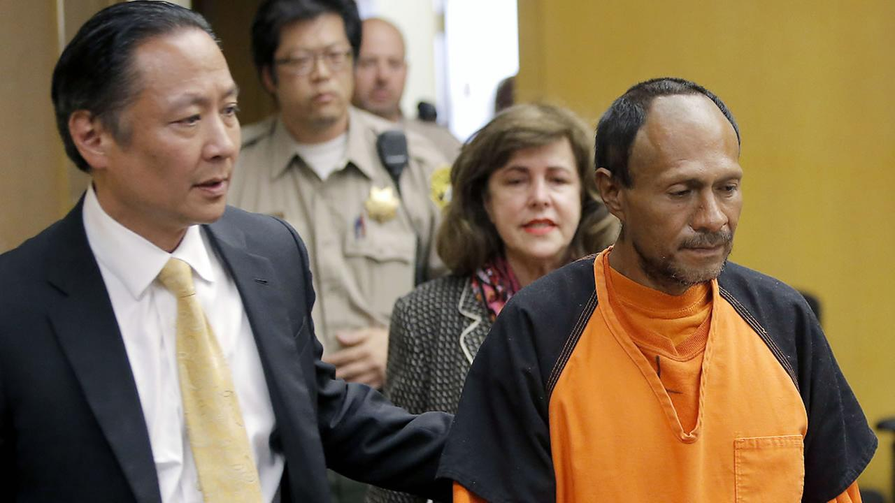 In this July 7, 2015 file photo, Jose Ines Garcia Zarate, right, is led into the courtroom by San Francisco Public Defender Jeff Adachi.