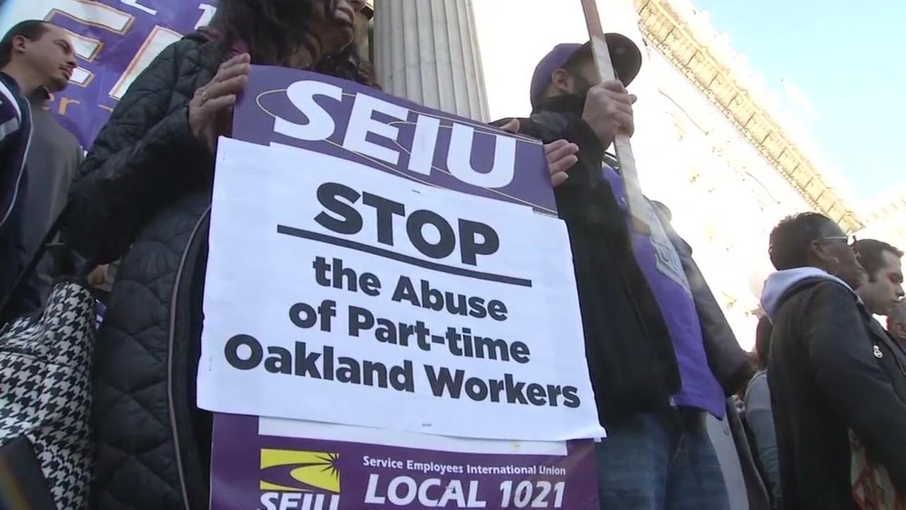 SEIU workers are seen striking in Oakland, Calif. in this undated image.