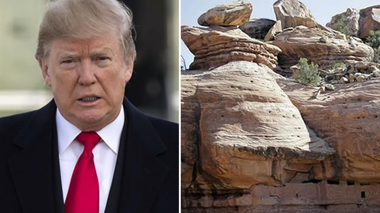 President Donald Trump boards Air Force One for a trip to Salt Lake City, left, and the Bears Ears National Monument is pictured, right, in a file photo.