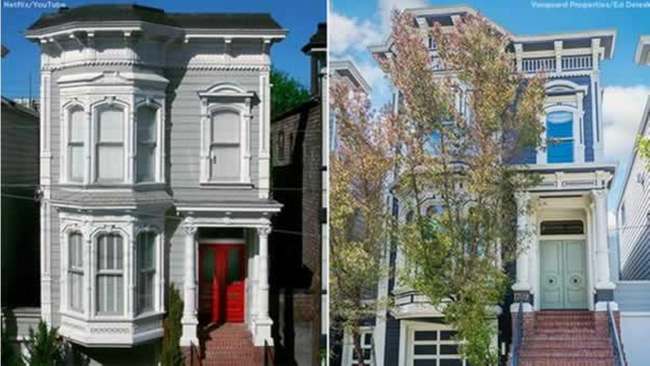 This San Francisco home is shown in the opening credits of Full House, left, and in a real estate photo, right.