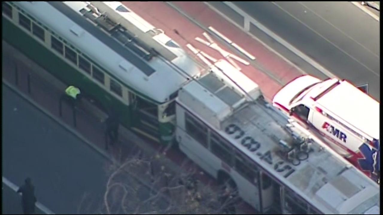 Sky7 was above an accident involving a Muni bus on Wednesday, Dec. 6, 2017 in San Francisco.