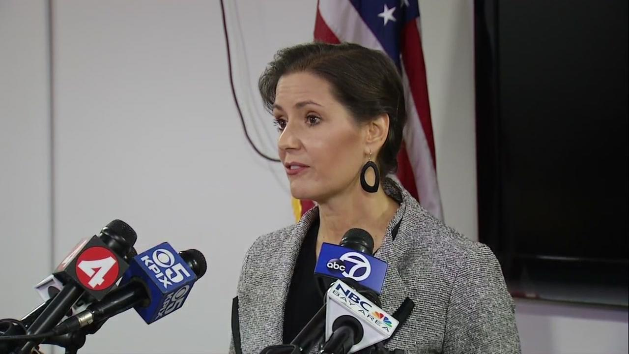 Mayor Libby Schaaf holds news conference in Oakland, California, December 8, 2017.