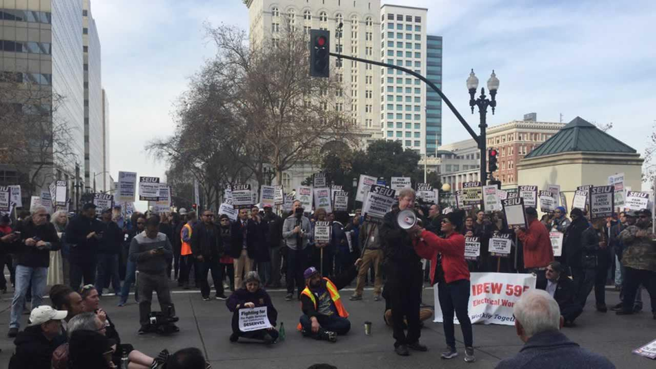 This is an image of SEIU workers on strike in Oakland, Calif. on Friday, December 8, 2017.