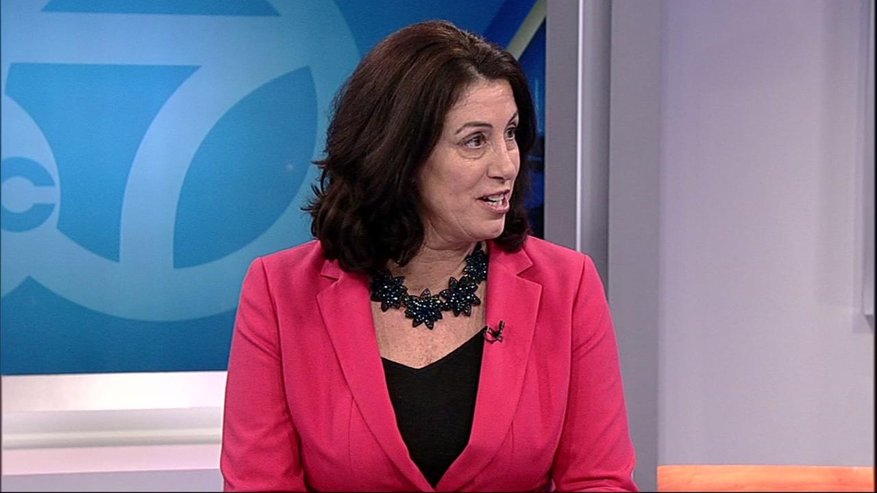 Christine Pelosi is interviewed by ABC7 News on Friday, Dec. 8, 2017.