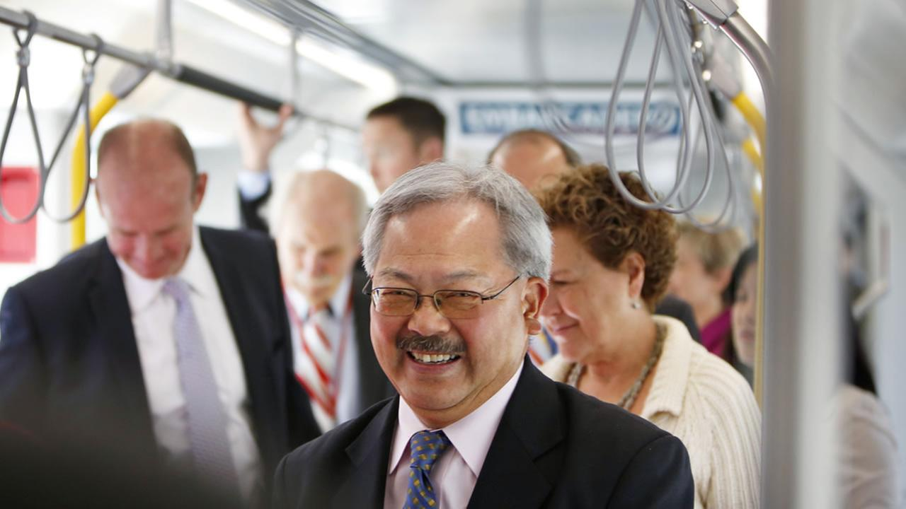 San Francisco Mayor Ed Lee tours a mock-up of the new San Francisco Municipal Transportation Agency light rail vehicle made by Siemens on Tuesday, June 16, 2015 in San Francisco. (Alison Yin/AP Images for Siemens)