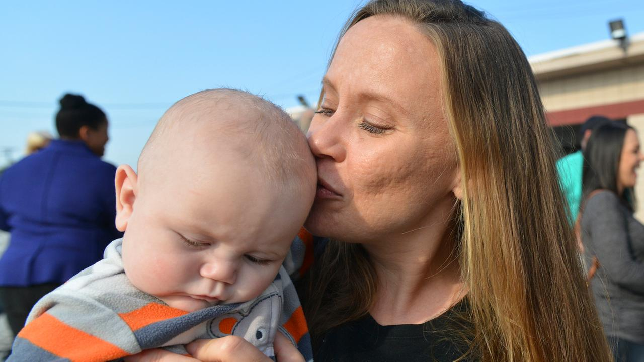 This is an image of Chrystal Morris and her son Logan on December 13, 2017, in Antioch, Calif.