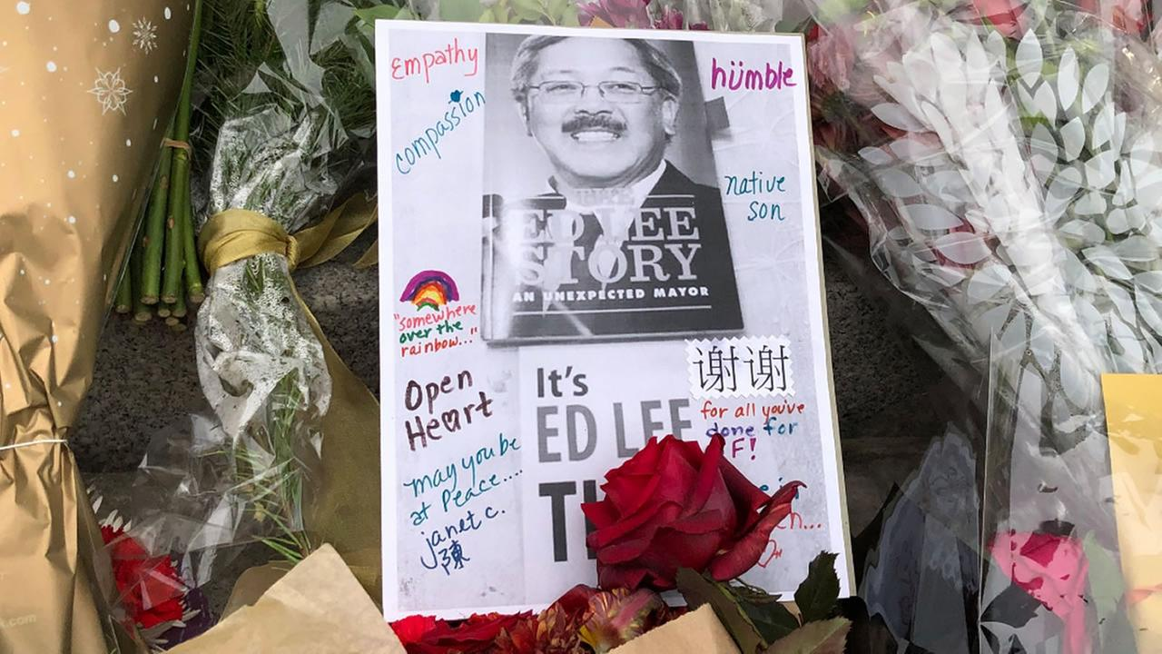 The memorial for former San Francisco Mayor Ed Lee grows on Friday, Dec. 15, 2017.