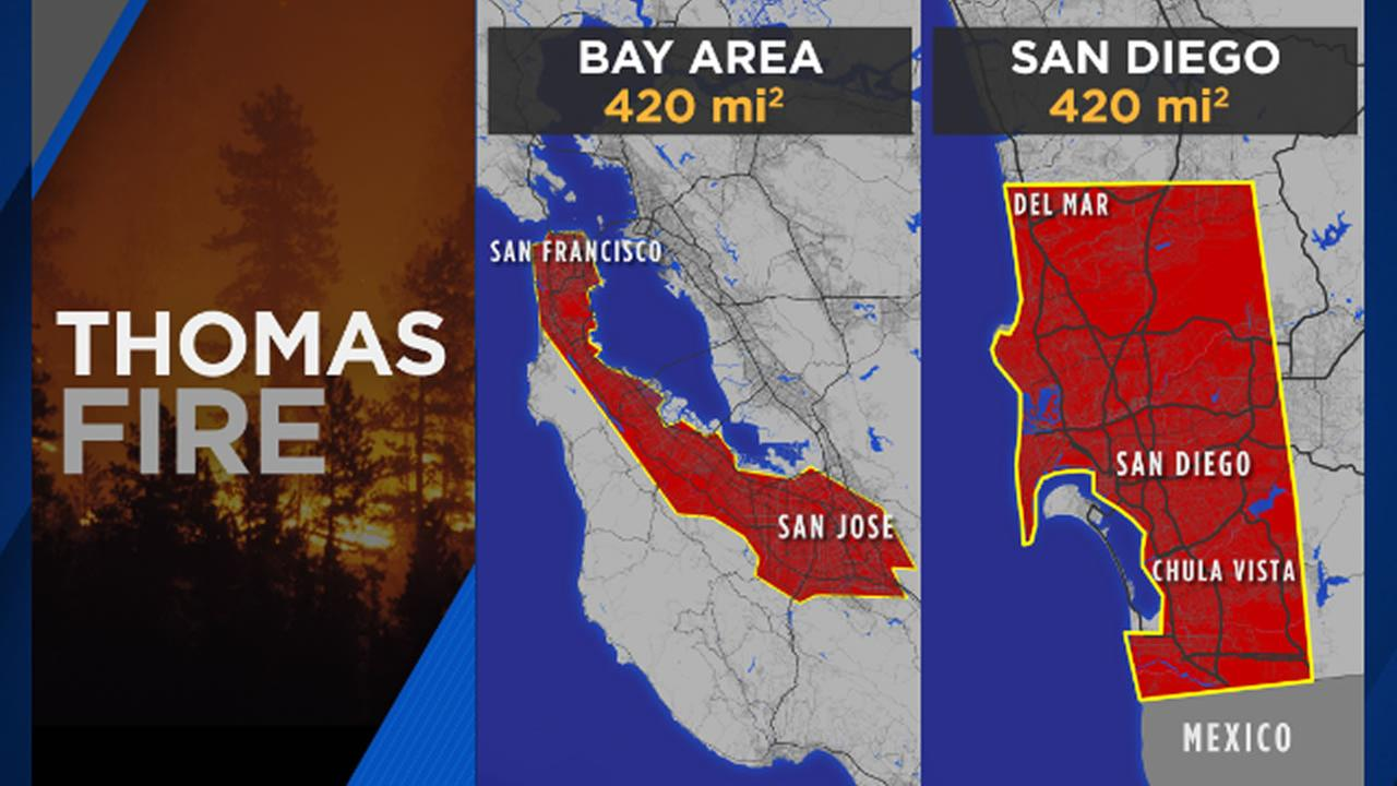 This graphic shows how the Bay Area would have been affected by a fire the size of the Thomas Fire in Southern California.