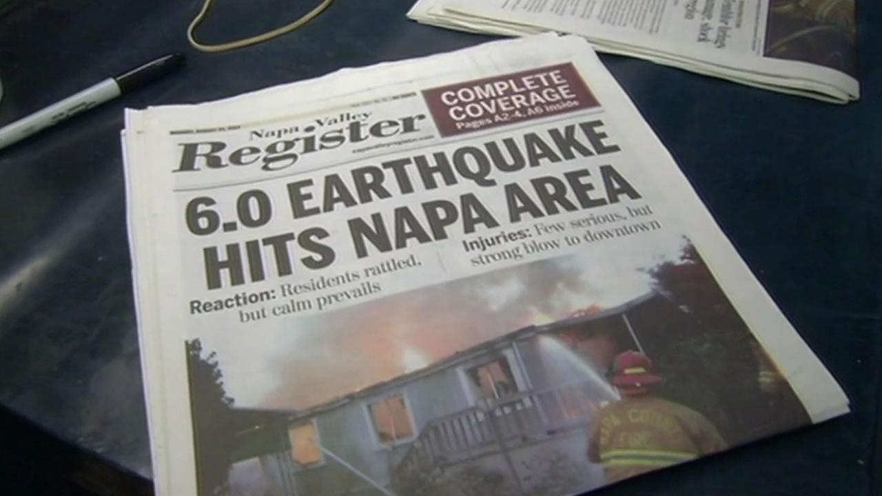 Napa Valley Register on the day of the 6.0 earthquake