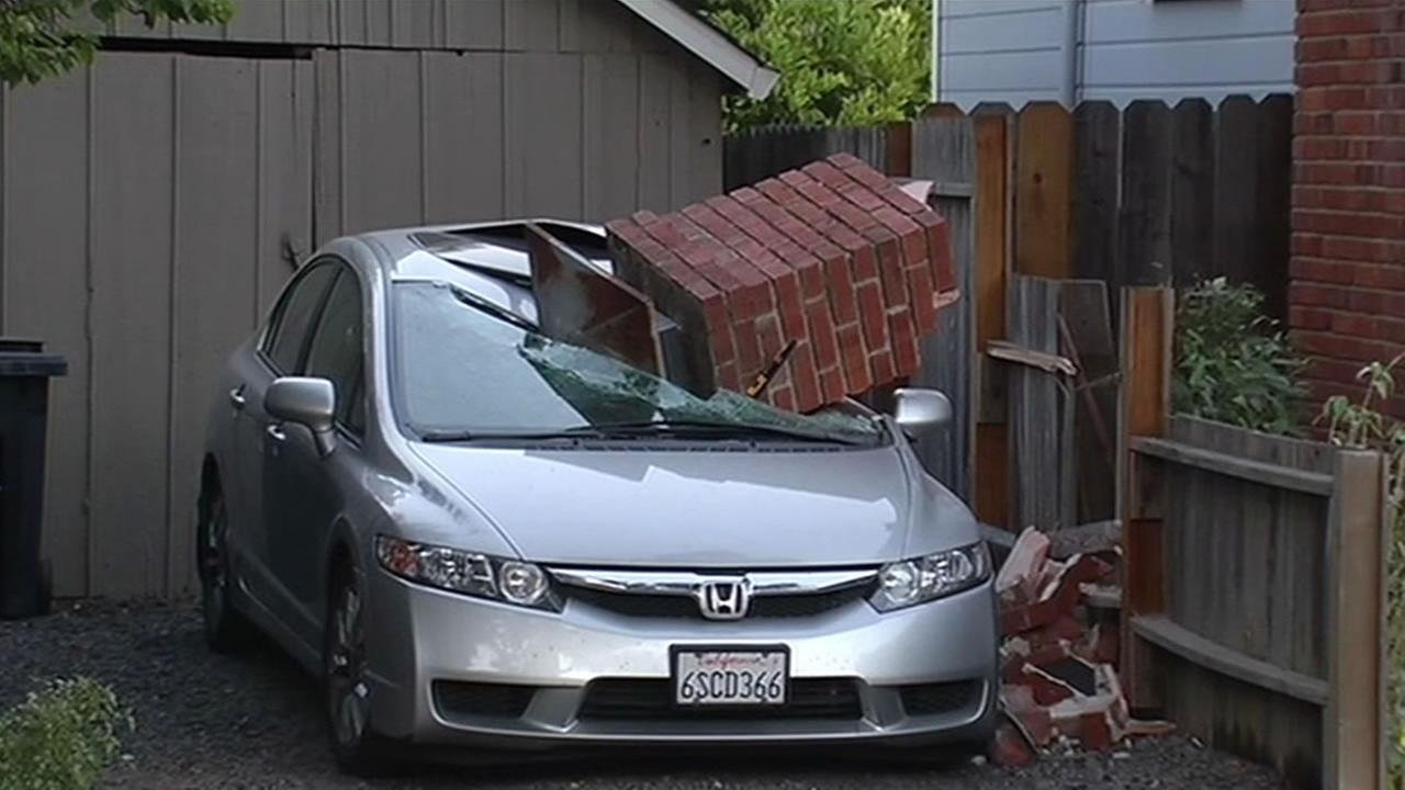 Chimney fell onto a car in Napa