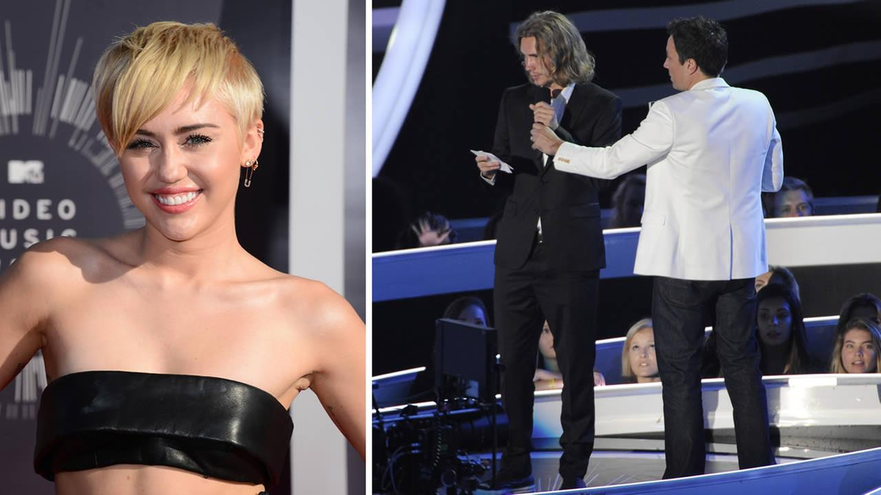 Miley Cyrus arrives at the MTV Video Music Awards (left); Jesse accepts a VMA for Miley Cyrus (right) at The Forum on Aug. 24, 2014, in Inglewood, Calif. (Photo by Jordan Strauss and Chris Pizzello/Invision/AP)