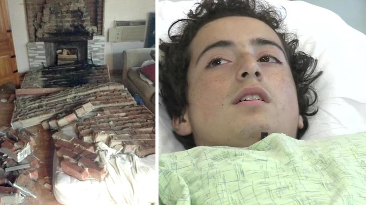 Nicholas Dillon, 13, recovers after being hit by a pile of bricks from a collapsed chimney during Sundays quake.