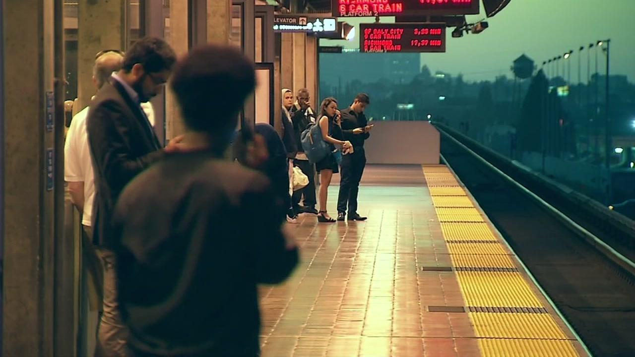 People wait for a BART train in this undated image.