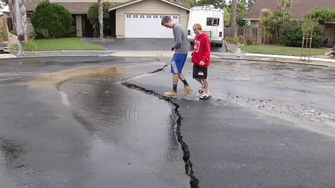 Cracked road after 6.0 earthquake.