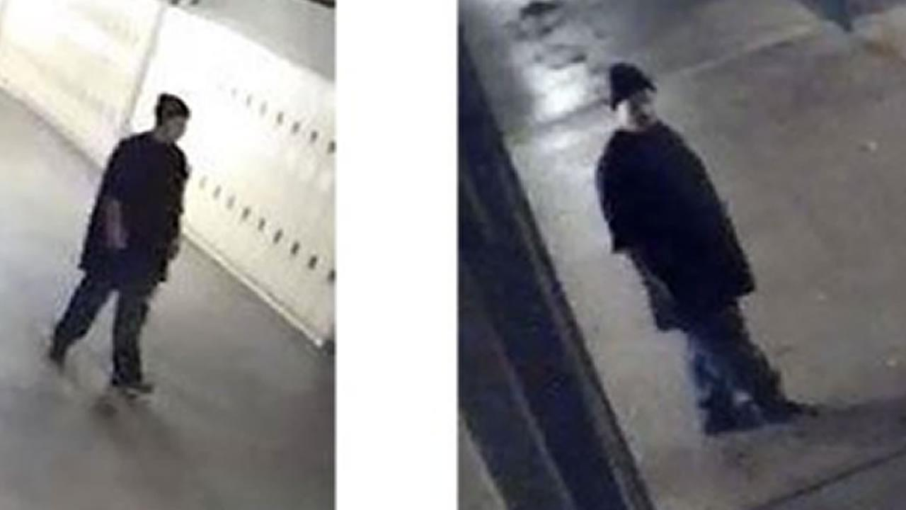 Surveillance images show the suspect in the assault of a woman at Harker Middle School in San Jose, Calif. on Tuesday, Jan 2, 2018.
