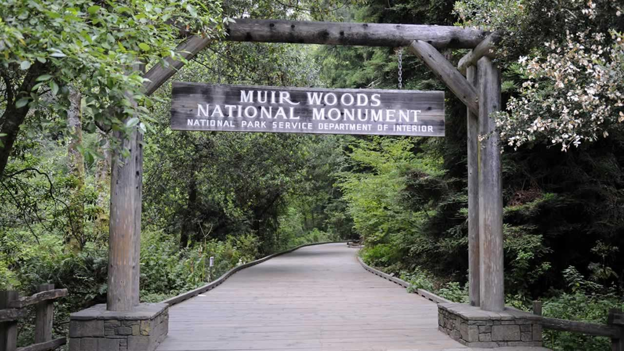The entrance to Muir Woods National Park is pictured in this undated file photo.