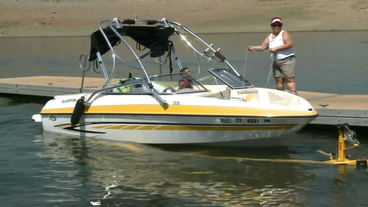 a boat in Folsom Lake